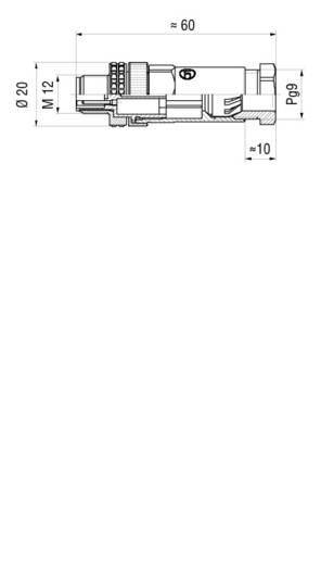 Kábelre szerelhető csatlakozó dugó és aljzat menetes rögzítőgyűrűvel fekete M12 ELST 4012 PG9 Hirschmann