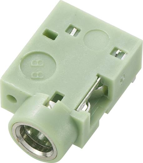 Beépíthető, forrasztható 3,5 mm-es Sztereó Jack aljzat zöld