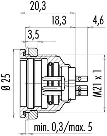 Miniatűr kerek dugaszolható csatlakozó 440-es sorozat-es sorozat Peremes dugó 09-4827-15-07 Binder 1 db