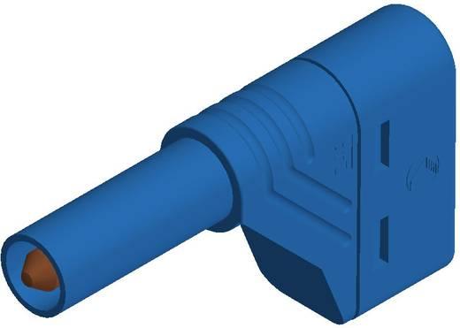 SKS Hirschmann biztonsági lamellás banándugó, könyök, Ø 4mm, kék, LAS S W
