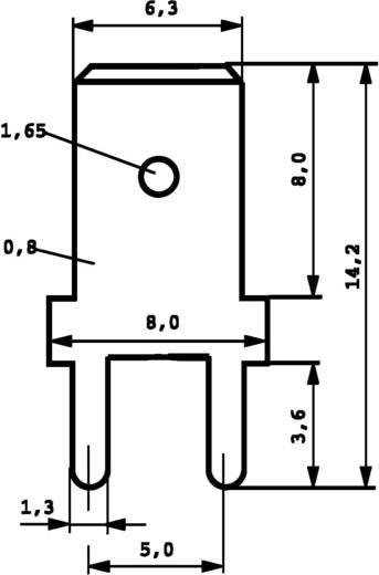 Dugaszoló csúszósaru, 6,3 mm / 0,8 mm 180° szigeteletlen, fémes Vogt Verbindungstechnik 3866a.61 100 db