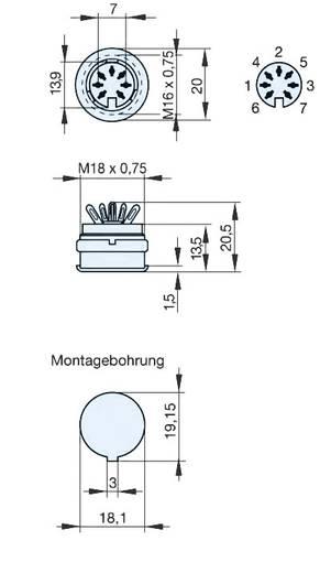 Beépíthető DIN hüvely 7 pólusú