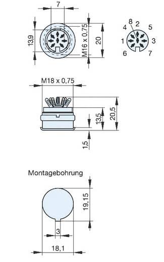 Beépíthető DIN hüvely 8 pólusú Hirschmann 931 749-517