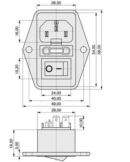 Beépíthető hálózati műszercsatlakozó dugó kapcsolóval, függőleges, 3 pól., 10 A, fekete, C14, K&B 59JR101-1FR-LR