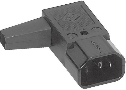 Lengő hálózati műszercsatlakozó dugó, 3 pól., egyenes, 10 A, fekete, C14, K&B 42R041111