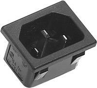 Beépíthető hálózati műszercsatlakozó dugó, függőleges, 3 pól., 10 A, fekete, C14, K&B 42R023212150 (42R023212150) K & B