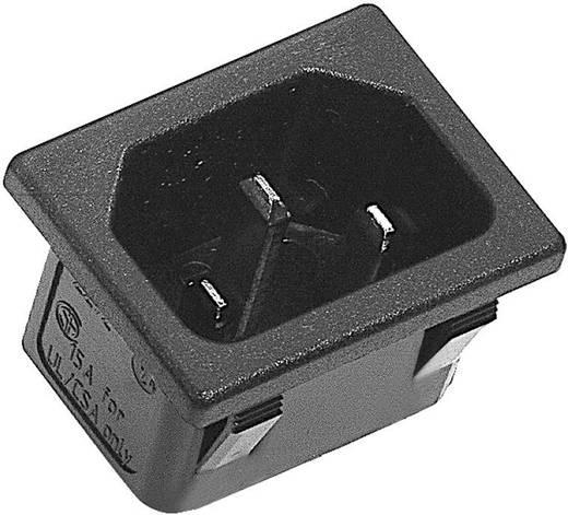 Beépíthető hálózati műszercsatlakozó dugó, függőleges, 3 pól., 10 A, fekete, C14, K&B 42R023212150