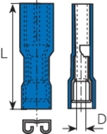 Lapos csúszósaru hüvely 4,8 x 0,8 mm, szigetelt, kék, Vogt Verbindungstechnik 396208