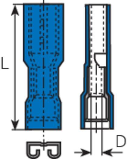 Lapos csúszósaru hüvely 4,8 x 0,8 mm, szigetelt, kék, Vogt Verbindungstechnik 396508
