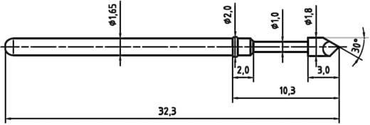 Mérőhegy, rugóérintkezős mérőtüske PTR 2021-H-1.5N-RH-1.8