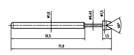 Mérőhegy, rugóérintkezős mérőtüske PTR 1010-G-0.8N-RH-1.5
