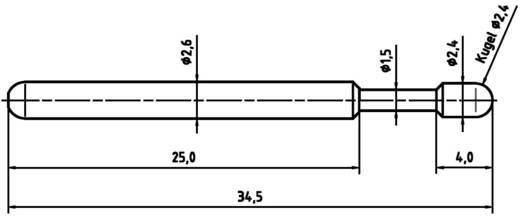 Mérőhegy, rugóérintkezős mérőtüske PTR 1040-D-1.5N-NI-2.4