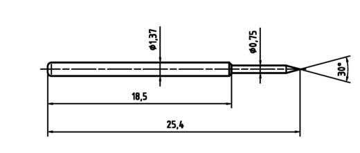 Mérőhegy, rugóérintkezős mérőtüske PTR 1015-B-0.7N-AU-0.75