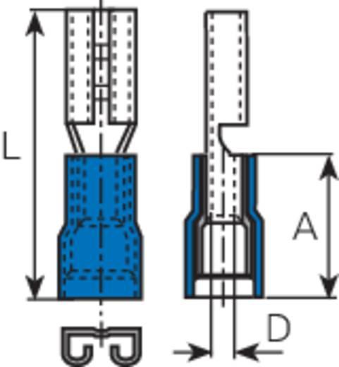 Lapos csúszósaru hüvely 4,8 x 0,8 mm, részlegesen szigetelt, kék, Vogt Verbindungstechnik 3905