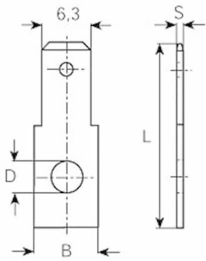 Dugaszoló csúszósaru, 6,3 mm / 0,8 mm 180° szigeteletlen, fémes Vogt Verbindungstechnik 3846.67