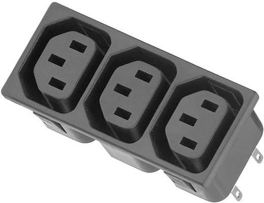 3 részes beépíthető hálózati műszercsatlakozó aljzat, 3 pól., függőleges, 10 A, fekete, C13, K&B 54R013121150