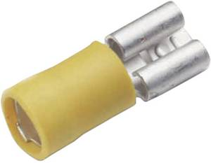Lapos csúszósaru hüvely 9,5 x 1,2 mm, részlegesen szigetelt, sárga, Cimco 180235 Cimco
