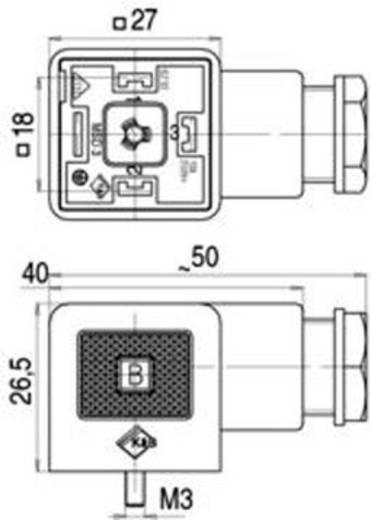 Mágnesszelep csatlakozó, A kivitel, 210-es sorozat Fekete 43-1702-004-04 Pólusszám:3+PE Binder Tartalom: 1 db