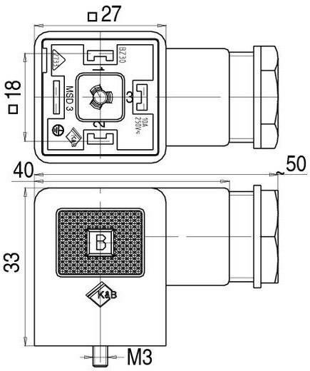 Mágnesszelep csatlakozó, A kivitel, 210-es sorozat Fekete 43-1704-002-03 Pólusszám:2+PE Binder Tartalom: 1 db