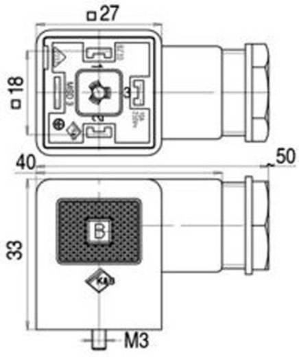 Mágnesszelep csatlakozó, A kivitel, 210-es sorozat Fekete 43-1706-004-04 Pólusszám:3+PE Binder Tartalom: 1 db
