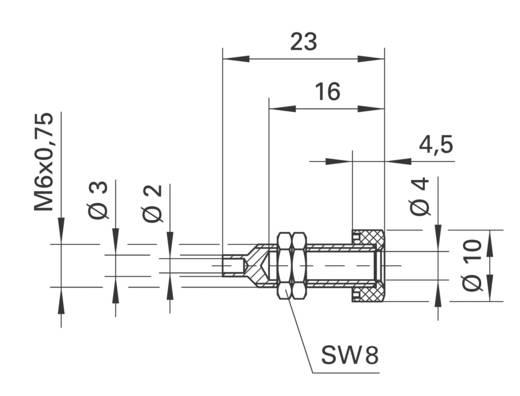 Schützinger beépíthető banán hüvely, Ø4mm, piros, BU 403 rt