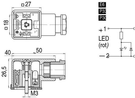 Mágnesszelep csatlakozó, A kivitel, 210-es sorozat átlátszó 43-1714-135-03 Pólusszám:2+PE Binder Tartalom: 1 db