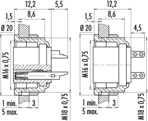 Miniatűr kerek dugaszolható csatlakozó 581 és 680 sorozat Pólusszám: 4 Peremes csatlakozó aljzat 6 A 09-0312-00-04 Binde