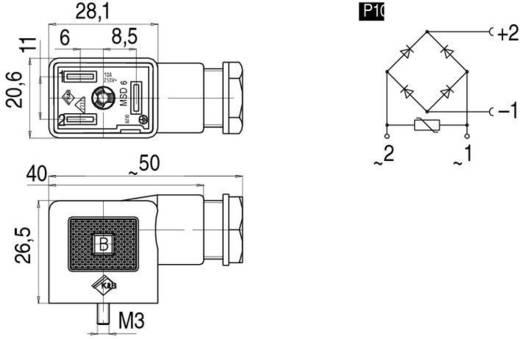 Mágnesszelep csatlakozó, B kivitel, 225-ös sorozat Fekete 43-1832-110-03 Pólusszám:2 + PE Binder Tartalom: 1 db