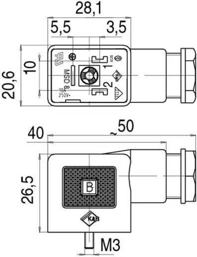 Mágnesszelep csatlakozó, B kivitel, 220-as sorozat fekete 43-1800-000-03 Pólusszám:2 + PE Binder Tartalom: 1 db