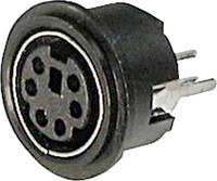 Miniatűr DIN kerek csatlakozó Alj, beépíthető, függőleges Pólusszám: 4 Fekete TRU COMPONENTS TC-A-DIO-TOP/04-203 TRU COMPONENTS