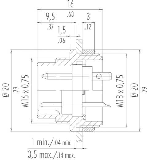 Beépíthető miniatűr kerek készülék csatlakozó alj, 5 pól., 6 A, Binder 680-09-0319-00-05