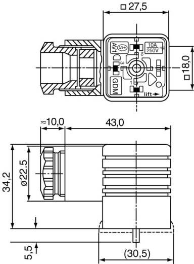 Négyszögletű csatlakozó, GDM sorozat 3+PE pólusú fekete GDM 3016 Hirschmann