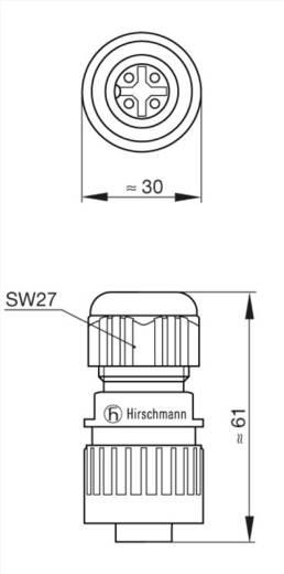 Műszercsatlakozó dugó hálózati feszültséghez 3+PE pólusú CA sorozat 934 125-100 Hirschmann