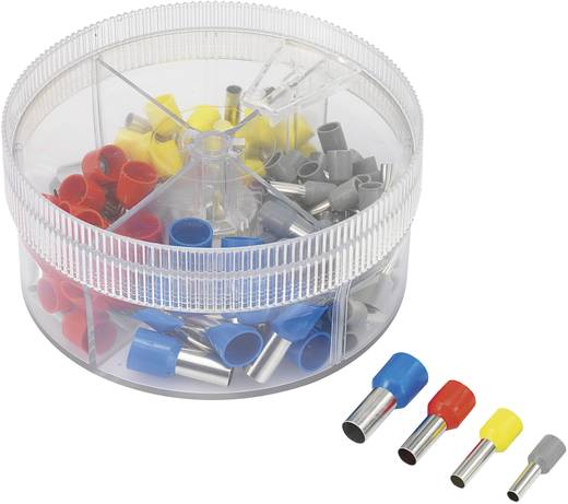 Érvéghüvely készlet, 4 mm² 16 mm² szürke, sárga, piros, kék, Conrad 93014c618 100 db