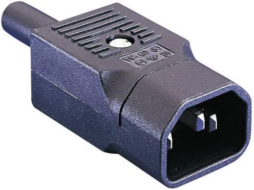 Lengő hálózati műszercsatlakozó dugó, 3 pól., egyenes, 10 A, fekete, C14, ESKA Bulgin PX0686