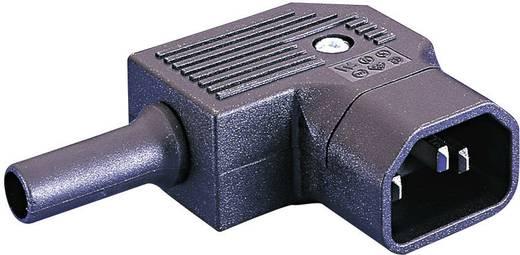 Lengő hálózati műszercsatlakozó dugó, 3 pól., pipa, 10 A, fekete, C14, ESKA Bulgin PX0686/SE
