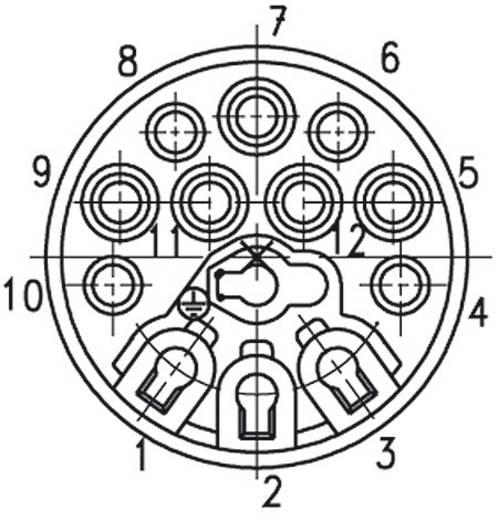 Kábelcsatlakozó dugó, 12 + PE