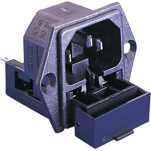 Beépíthető hálózati műszercsatlakozó dugó biztosítékkal, függőleges, 3 pól., 10 A, fekete, C14, ESKA Bulgin PF0030/63