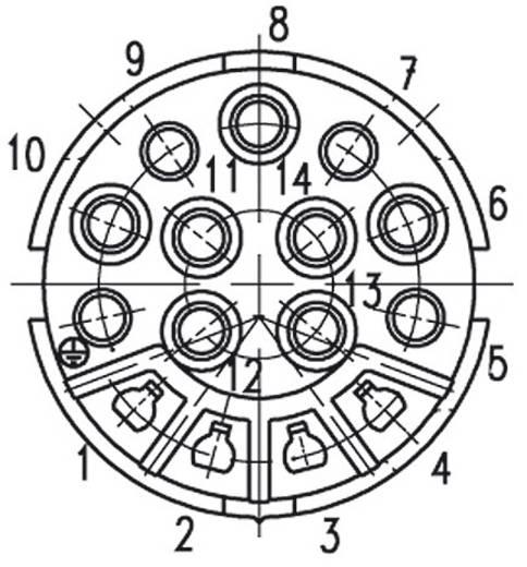 Amphenol C16-3 kerek készülék csatlakozó dugó, 14 pól. , 4 x 6 A, 11 x 12 A, C016 10I014 003 2