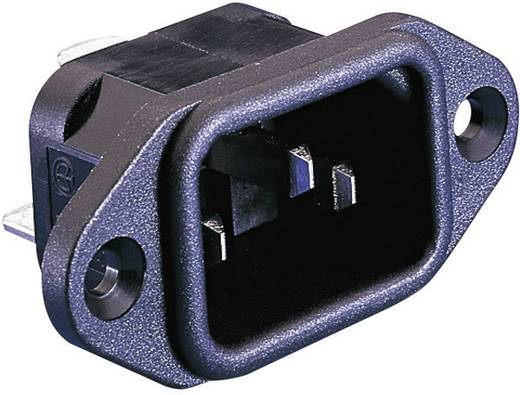 Beépíthető hálózati műszercsatlakozó dugó, függőleges, 3 pól., 10 A, fekete, C14, ESKA Bulgin PX0580/63