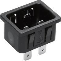 Beépíthető hálózati műszercsatlakozó dugó, függőleges, 3 pól., 16 A, fekete, C20, Kaiser 767/10/63/sw/C (767/10/63/sw/C) Kaiser