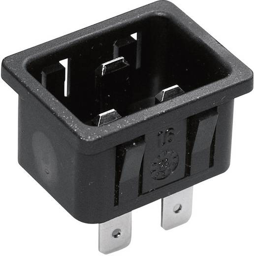Beépíthető hálózati műszercsatlakozó dugó, függőleges, 3 pól., 16 A, fekete, C20, Kaiser 767/10/63/sw/C