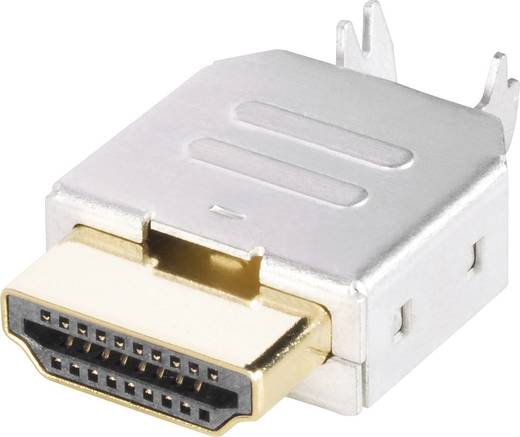 HDMI csatlakozó dugó, beépíthető, vízszintes pólusszám: 19 ezüst BKL Electronic 905004 1 db