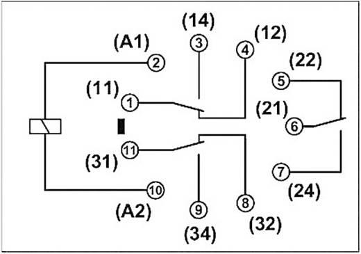 Dugaszolható nyolc kivezetéses relé 3 váltó 56 mA, Phoenix Contact REL-OR- 24DC/3X21