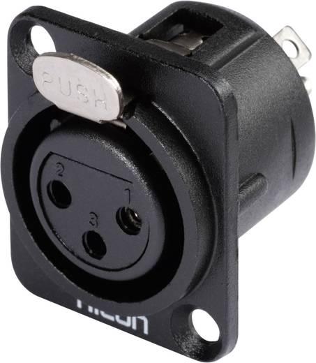 XLR csatlakozó peremes hüvely, egyenes érintkezők pólusszám: 3 fekete Hicon HI-X3DF-M 1 db