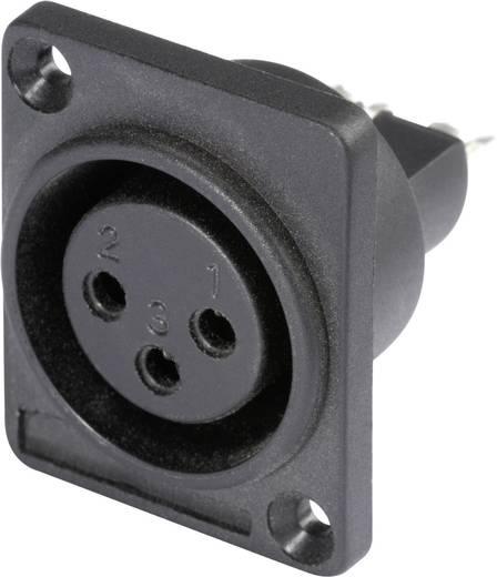 XLR csatlakozó peremes hüvely, egyenes érintkezők pólusszám: 3 fekete Hicon HI-X3DF-P 1 db
