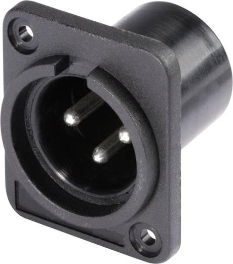 XLR csatlakozó peremes dugó, egyenes érintkezők pólusszám: 3 fekete Hicon HI-X3DM-P 1 db