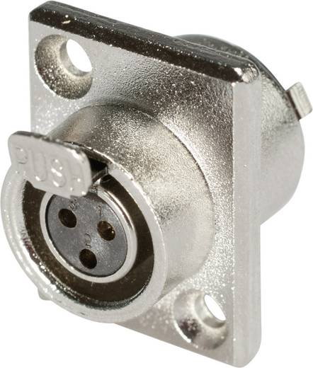 XLR csatlakozó alj, beépíthető, függőleges pólusszám: 3 ezüst Hicon HI-XMEF3 1 db