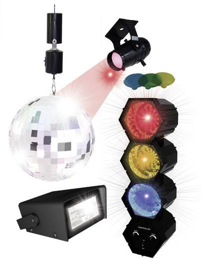 LED-es parti készlet, fényorgona + tükörgömb + mini stroboszkóp