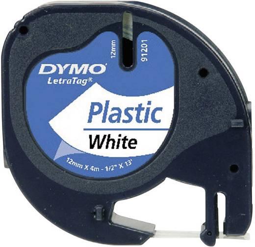 DYMO feliratozószalag LetraTag, 12mm, gyöngy-fehér/fekete, polieszter, S0721660